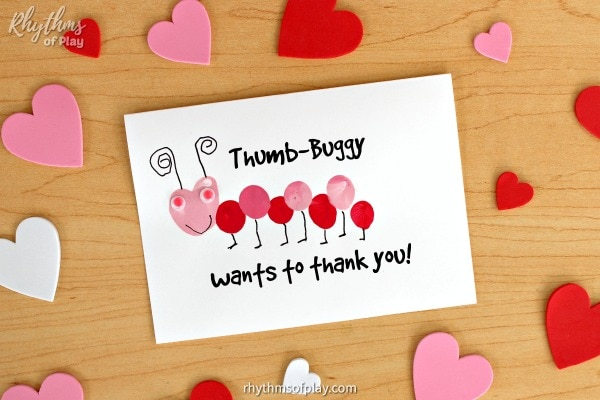 Thumb-buggy wants to thank you card kids can make