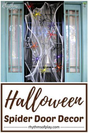 Halloween spider decorations running around on the front door
