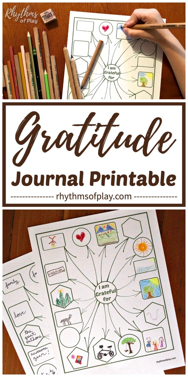 Gratitude journal printable worksheet template for kids and adults