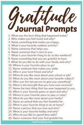 FREE Printable Gratitude Journal Prompts