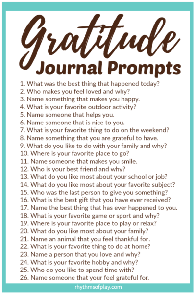 FREE Printable Gratitude Journal Prompts