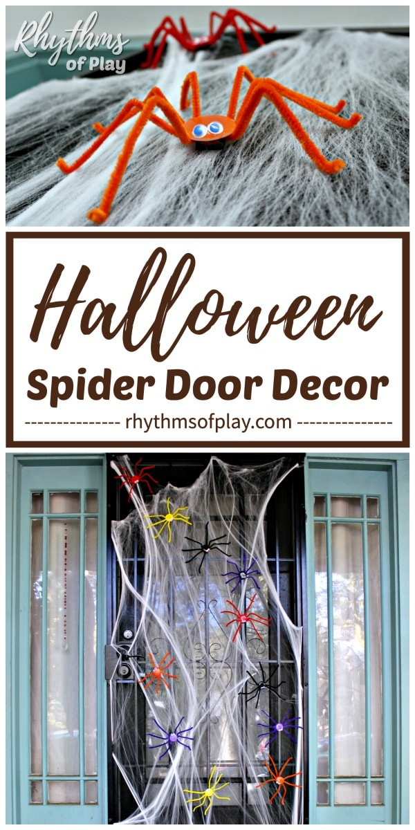 Halloween spider door decorations on stretchy spider web