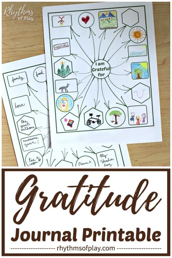 gratitude journal printable template pages for kids and adults