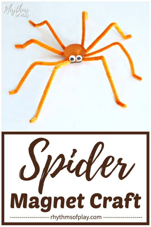magnetic Halloween spider craft for kids and adults