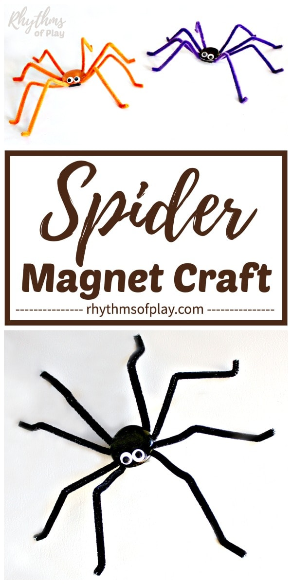 Halloween spider magnet craft
