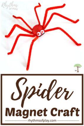 magnetic spider craft - Halloween spider craft