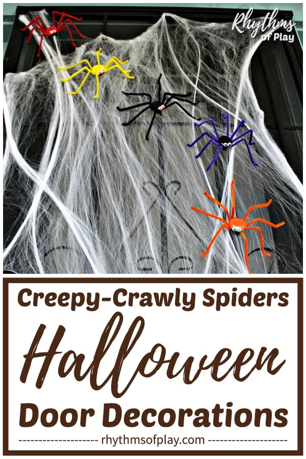 Halloween spider door decorations with stretchy spider web