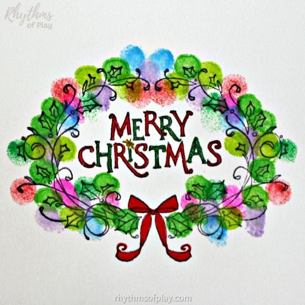 fingerprint Christmas wreath cards kids can make