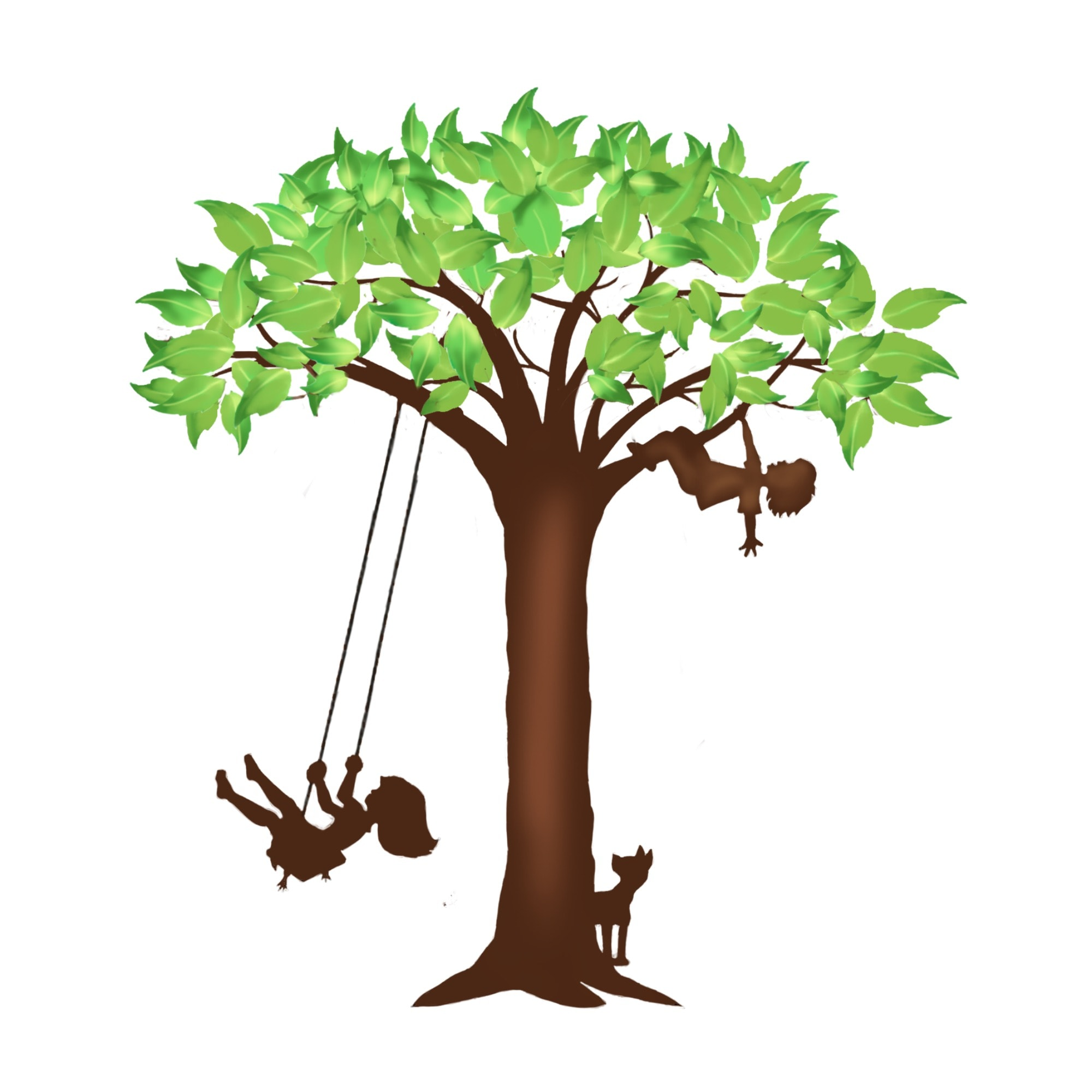 Rhythms of Play Tree logo with girl on swing, boy in tree, and dog under tree