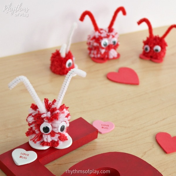 Pom-pom love bugs made with DIY poms