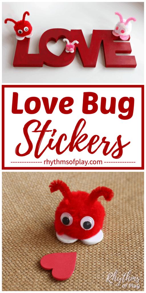 Pom pom love bugs made with pre-made craft poms
