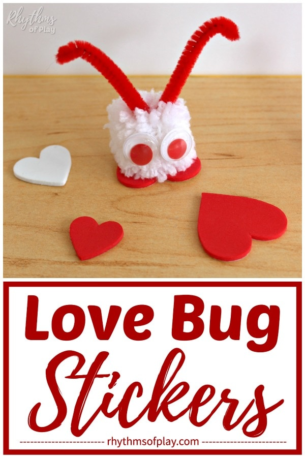 white pom-pom love bug craft with red eyes and red antennae