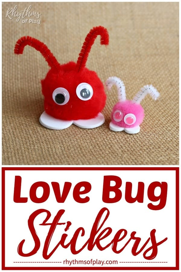 Pom pom love bug sticker craft kids can make for Valentine's Day