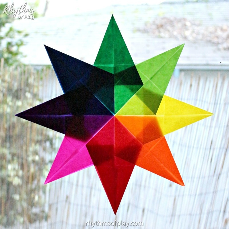 Waldorf window star made with kite paper in a rainbow of colors