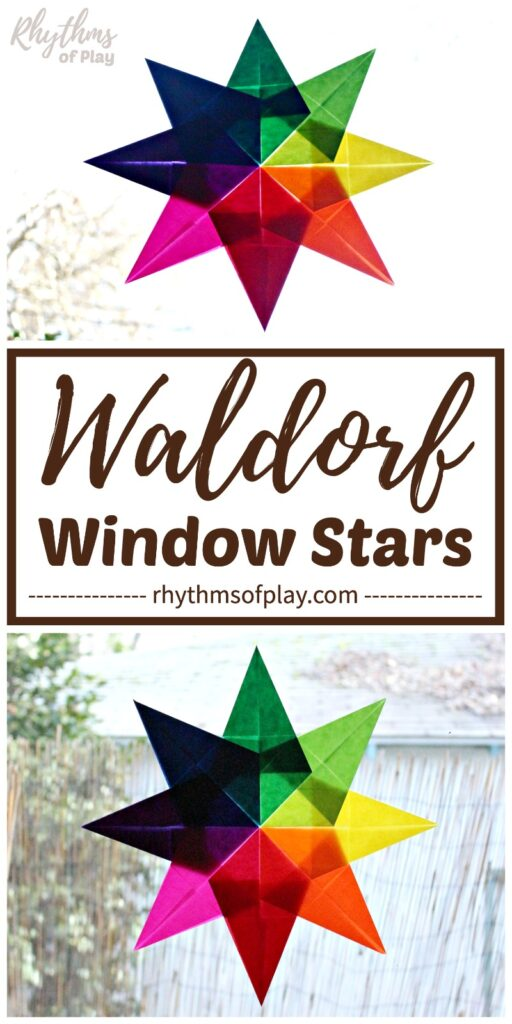 Waldorf window stars made with red, orange, yellow, light green, dark green, blue, purple and pink kite paper.