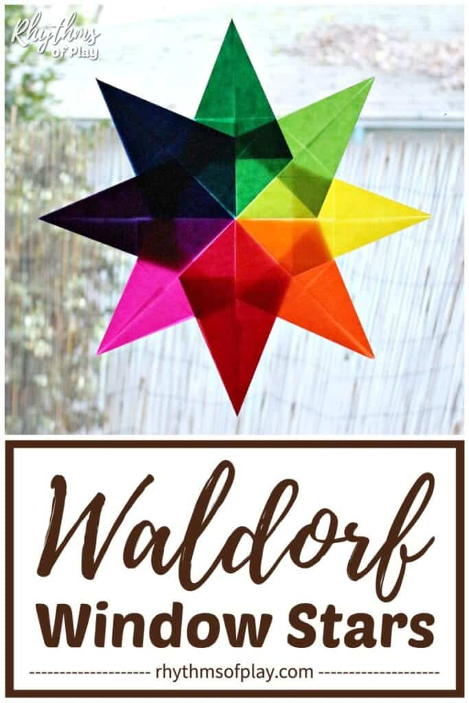 Waldorf window star made with red, orange, yellow, green, blue, purple and pink kite paper.