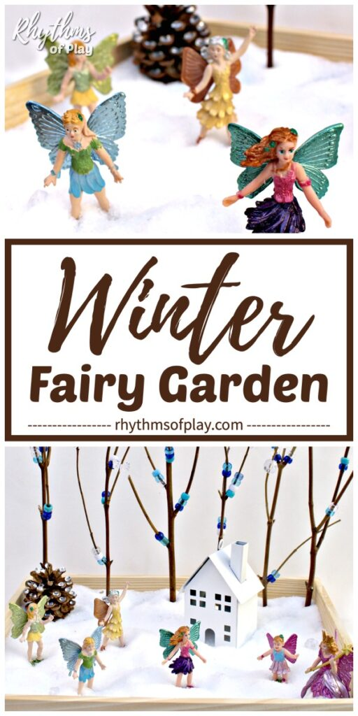 DIY winter fairy garden with faeries playing in the winter wonderland small world
