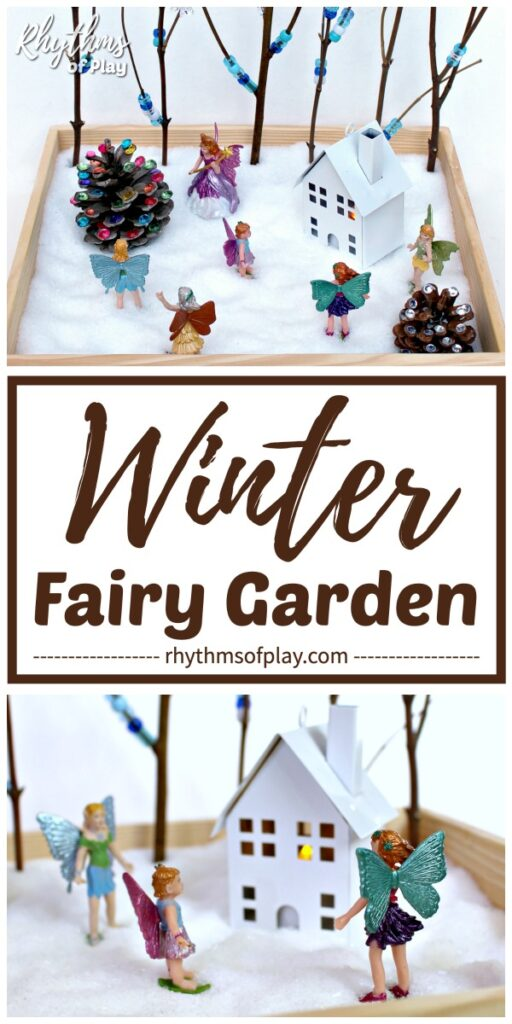 DIY winter fairy garden small word play table top toy that does not need snow or live plants!