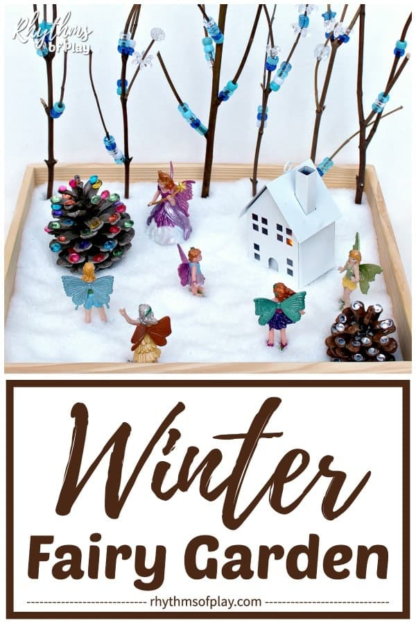 winter fairy garden idea with pony bead decorated winter trees and Epsom salt snow