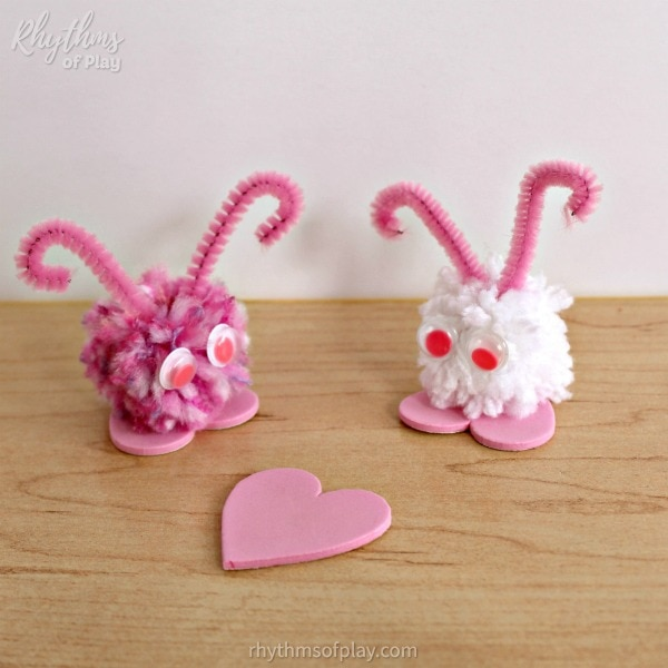 love bugs made with homemade pompoms