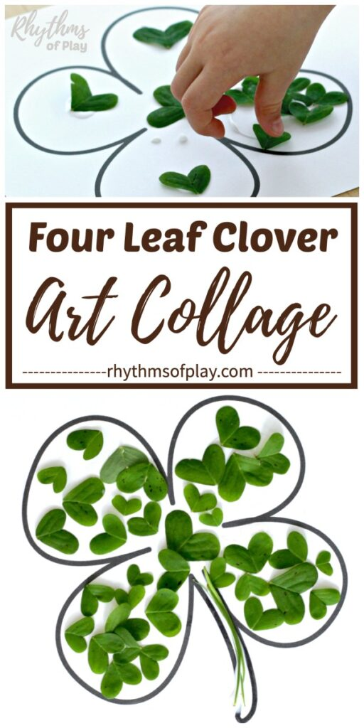 lucky four-leaf clover nature art collage made with clover