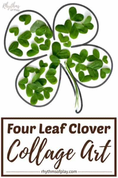 Lucky four-leaf clover nature collage art project ideas