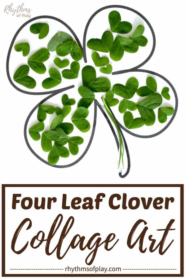lucky four-leaf clover collage art project made with real clover or other craft supplies