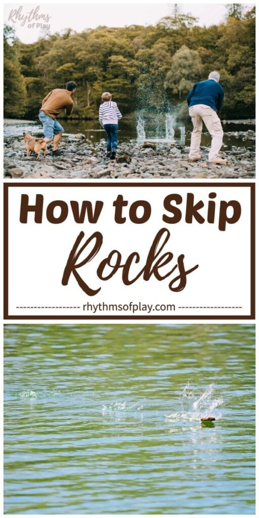 a family demonstrating how to throw or skip rocks and stones across water