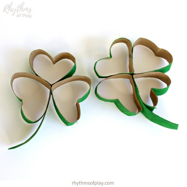 toilet paper roll shamrocks and four leaf clover crafts for Saint Patrick's Day
