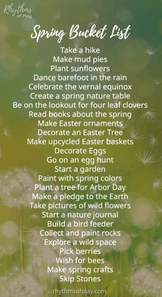 Spring bucket list of activities to do in the spring