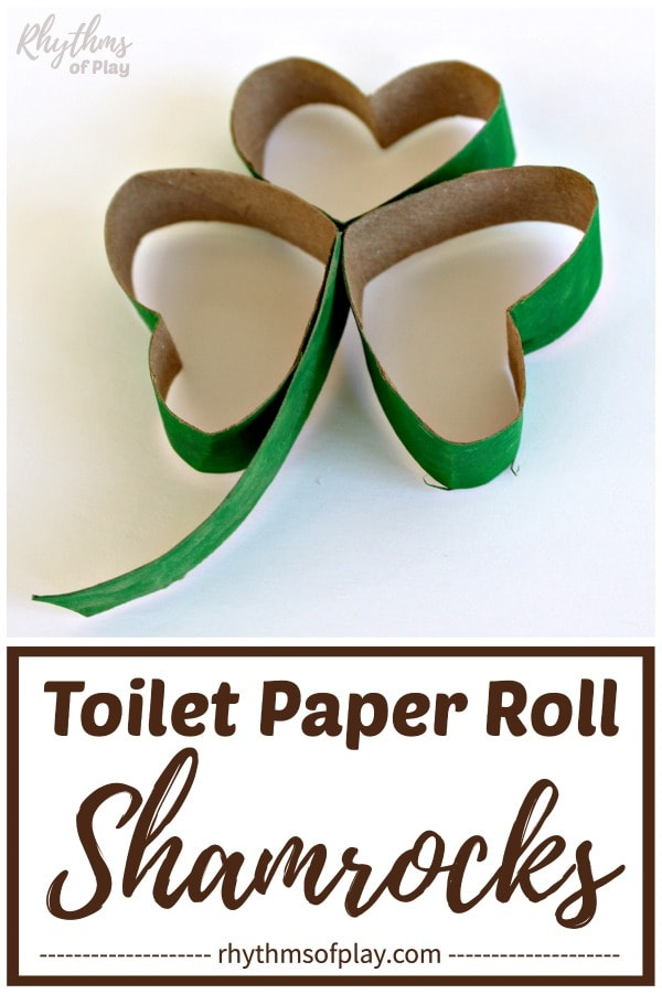 Toilet paper roll shamrocks made with recycled cardboard tubes