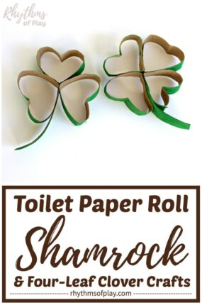 toilet paper roll shamrocks and toilet paper roll four leaf clover crafts