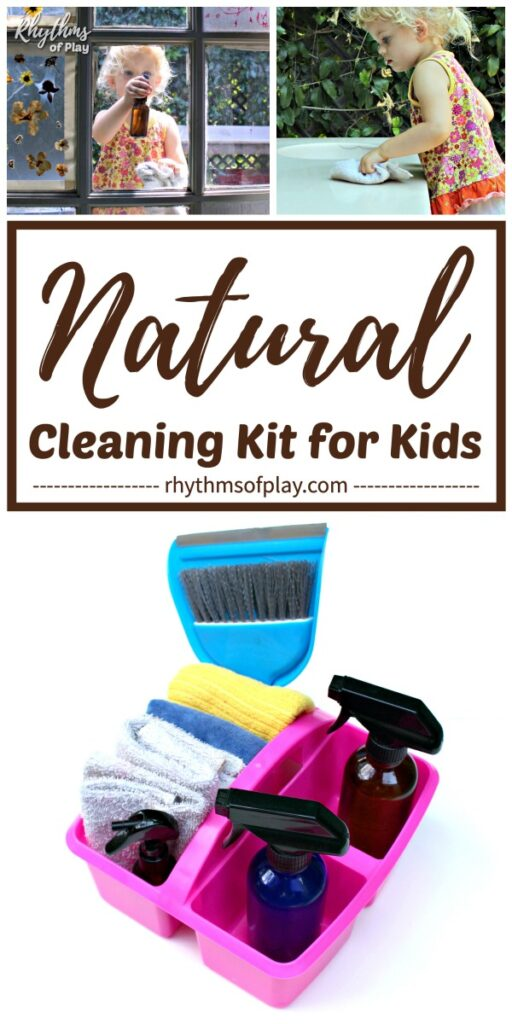 children cleaning around the house with all natural cleaning kit DIY