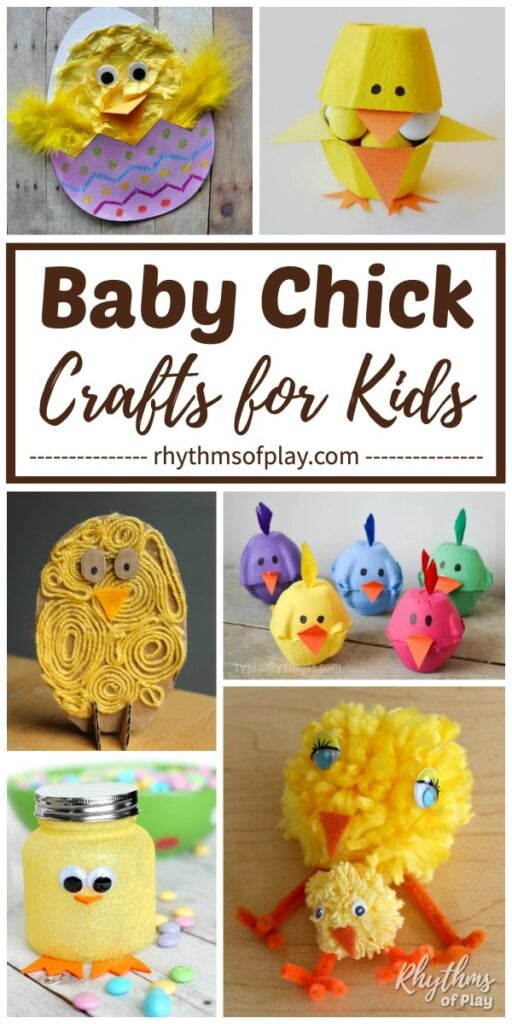 Pictures of cute baby chick crafts for kids and adults.