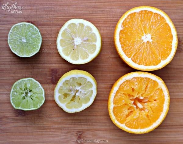 Citrus fruits used to make art prints (lime, lemon, and orange)