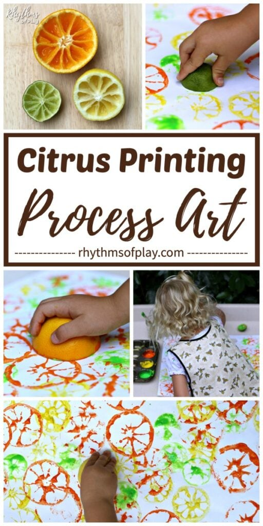 citrus printing - children stamping citrus fruits (orange, lemon, lime) to create art prints