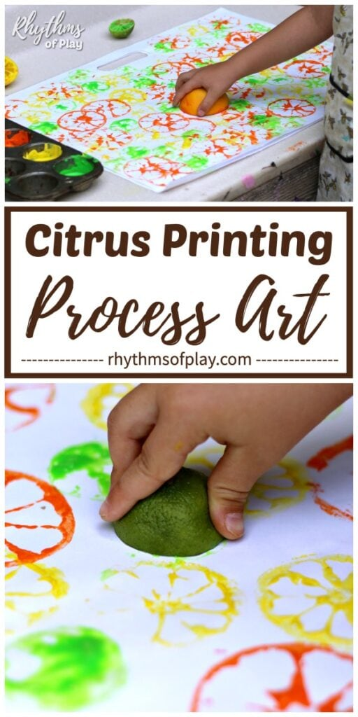 Children stamping citrus fruits to create art prints with limes, lemons and oranges