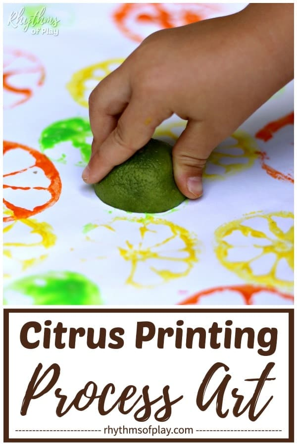 kid making citrus prints or stamps with a lime and tempera paint on paper