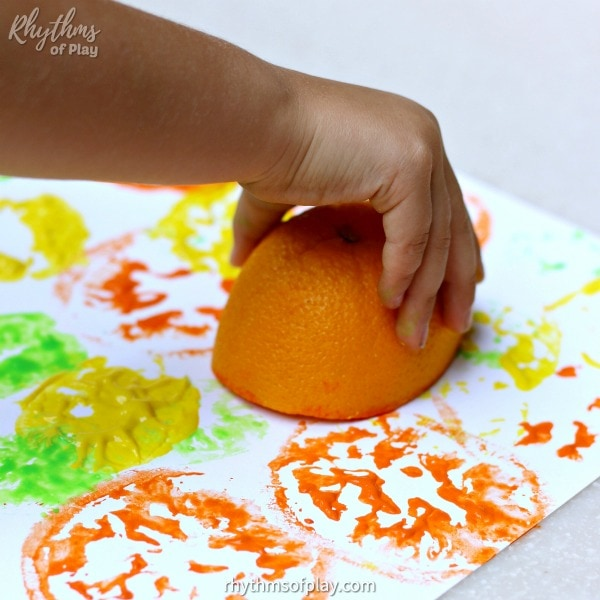citrus printing with an orange that has had the juice squeezed out