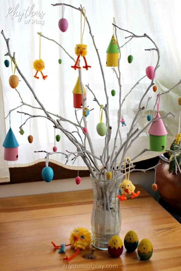 Easter tree decorated with eggs and DIY Easter ornaments.