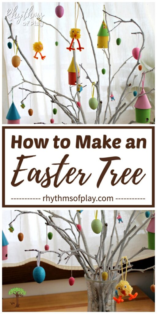 Easter egg tree tradition with a modern twist with homemade ornaments of all kinds.