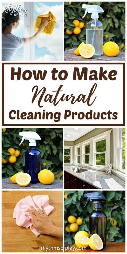 DIY all natural cleaning products being used to clean surfaces all over the house and workplace.