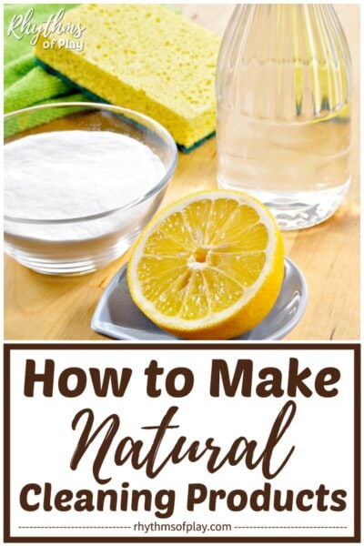 Homemade natural cleaning product ingredients; baking soda, vinegar, and lemon.