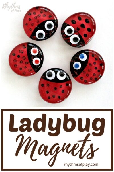 red ladybug magnets arranged in a circle on refrigerator