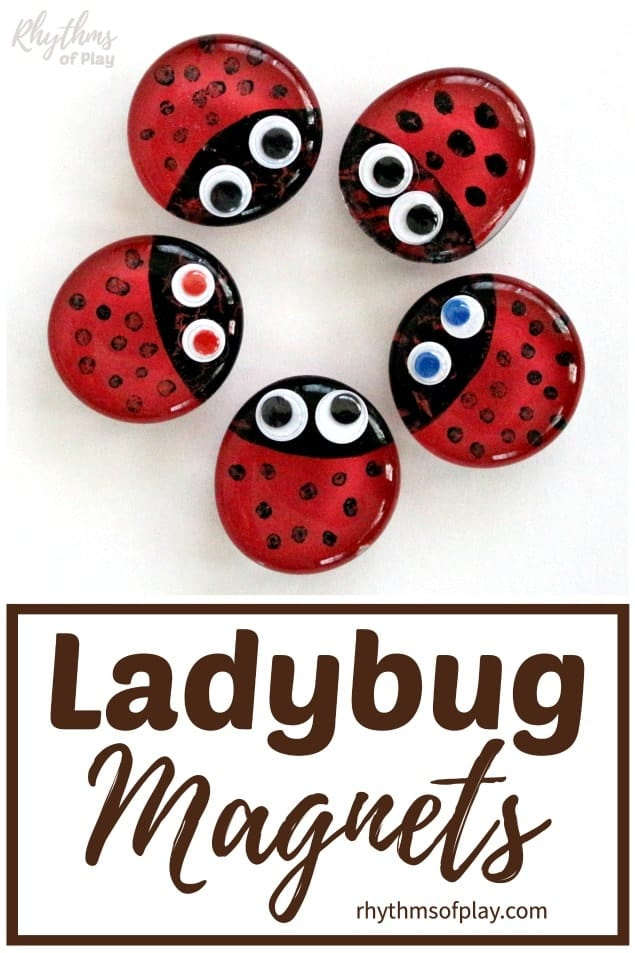 red ladybug magnets arranged in a circle on the refrigerator