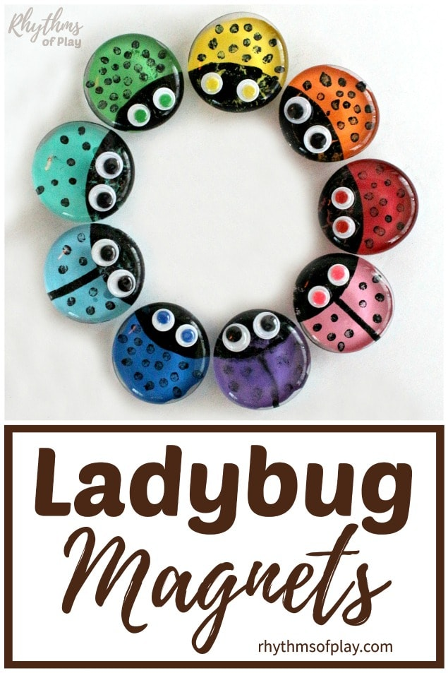 refrigerator glass gem ladybug magnets craft for kids and adults
