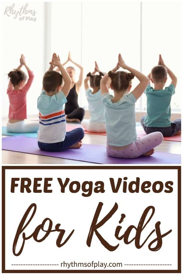 Children practicing yoga for kids in a class video