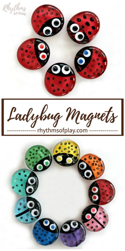 red and rainbow ladybug refrigerator magnets craft arranged into circles.