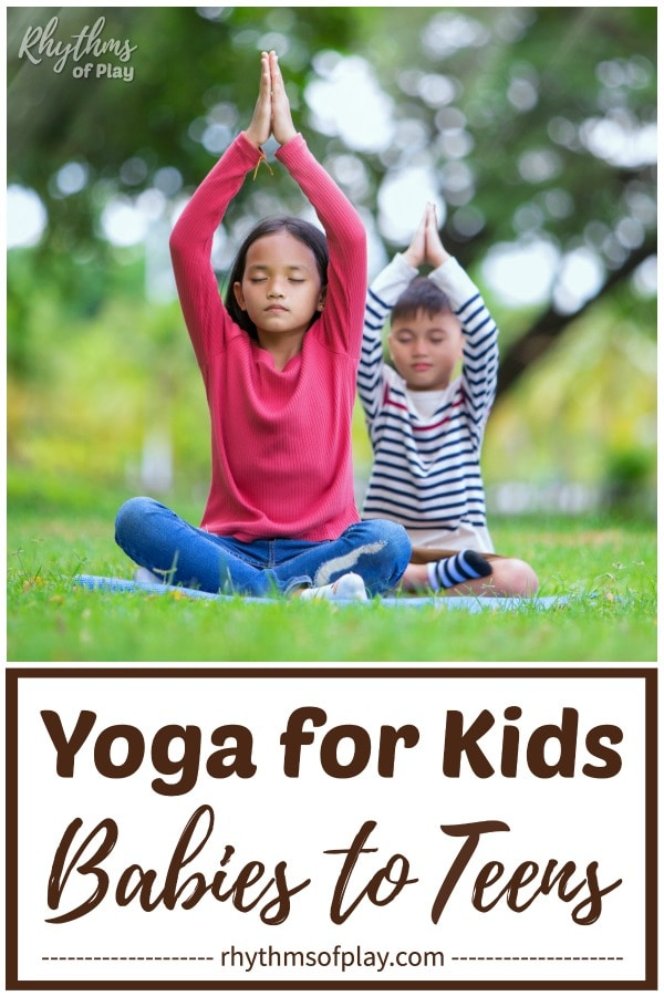 Children practicing yoga for kids outside in the grass on yoga mats.