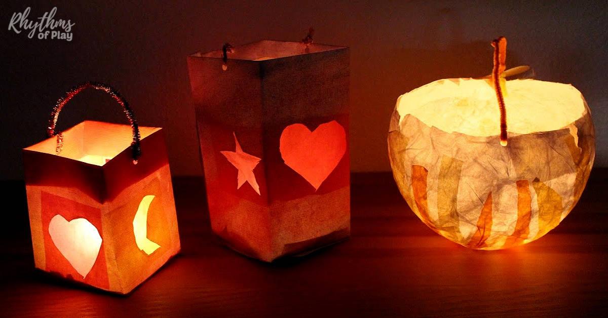 Waldorf paper lantern crafts for Martinmas lantern walk